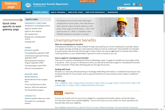 A gateway page on the new esd.wa.gov website.