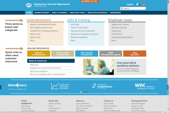 Home page of the new esd.wa.gov